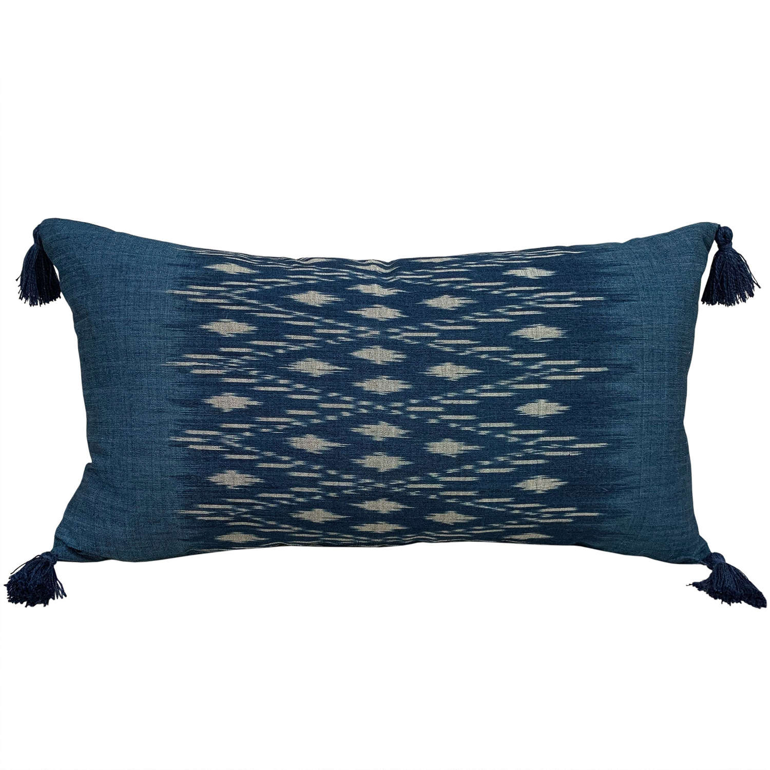 Indigo ikat cushion with tassels