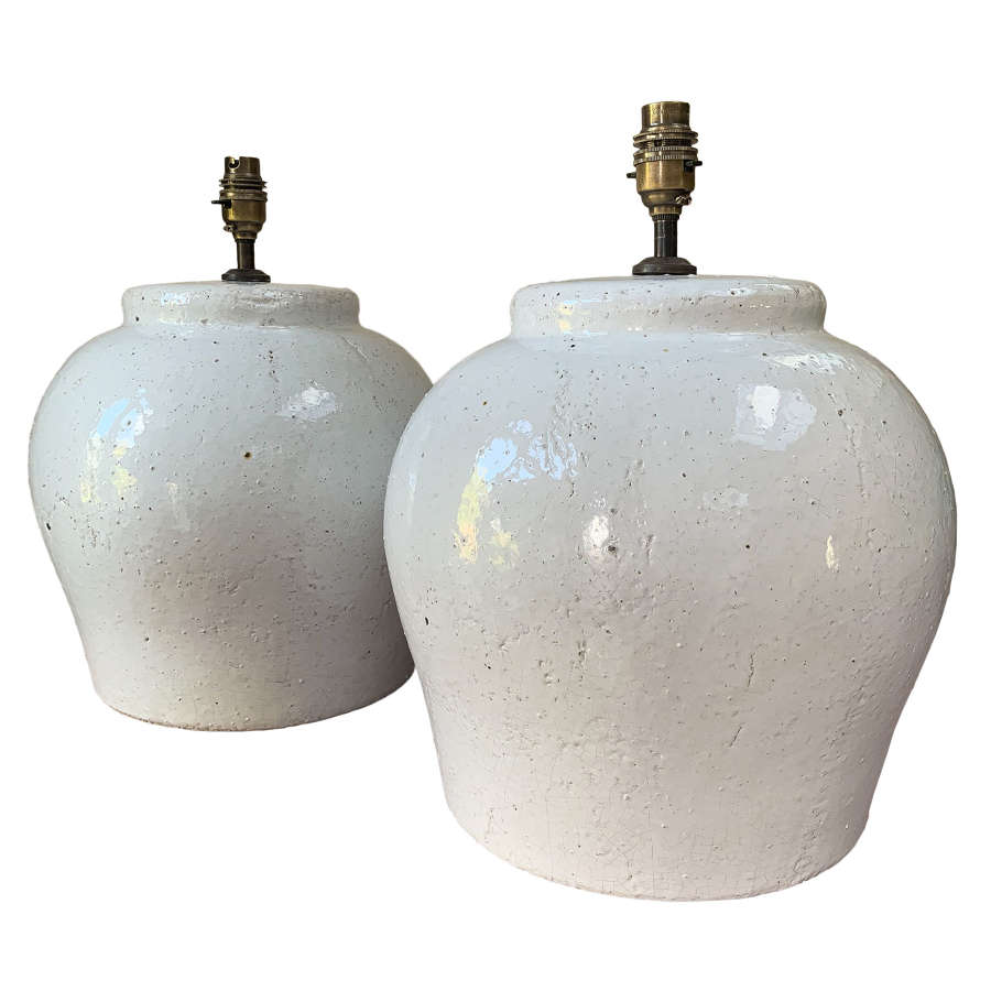 Pair of glazed terracotta lamps