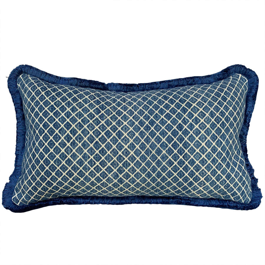 Zhuang cushion with blue fringe trim