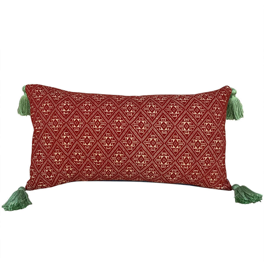 Dai cushions with green tassels