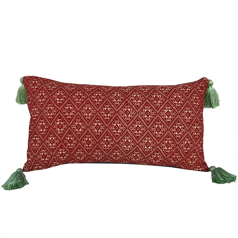 Dai cushions with green tassels