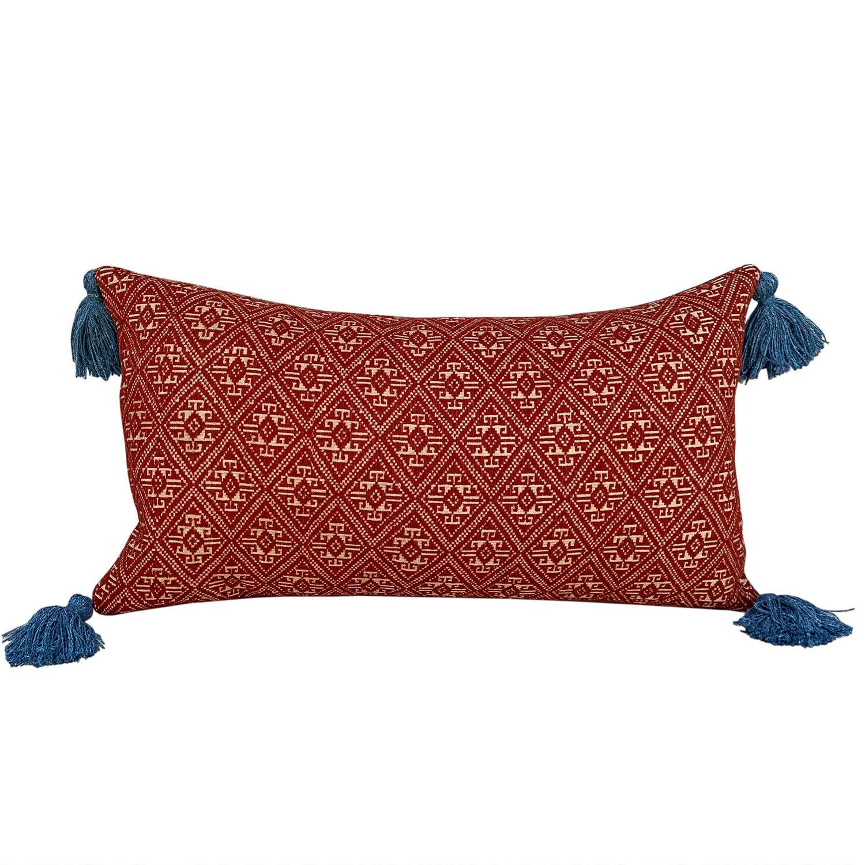 Dai cushions with blue tassels