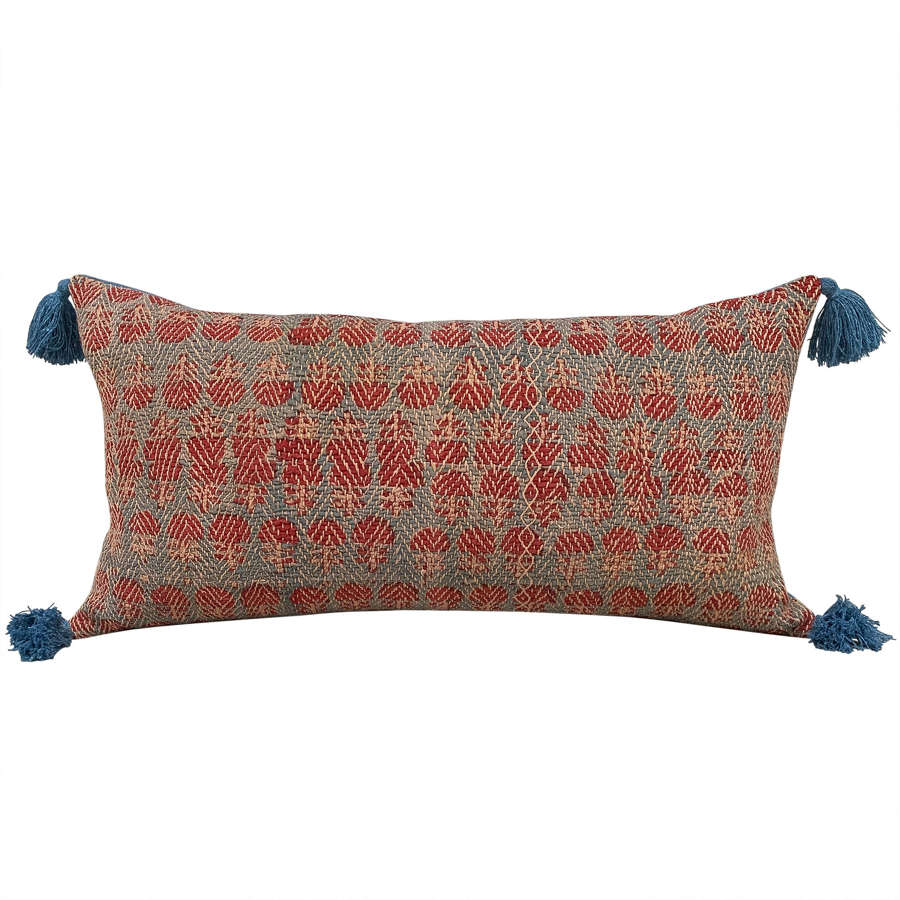 Banjara cushion with blue tassels
