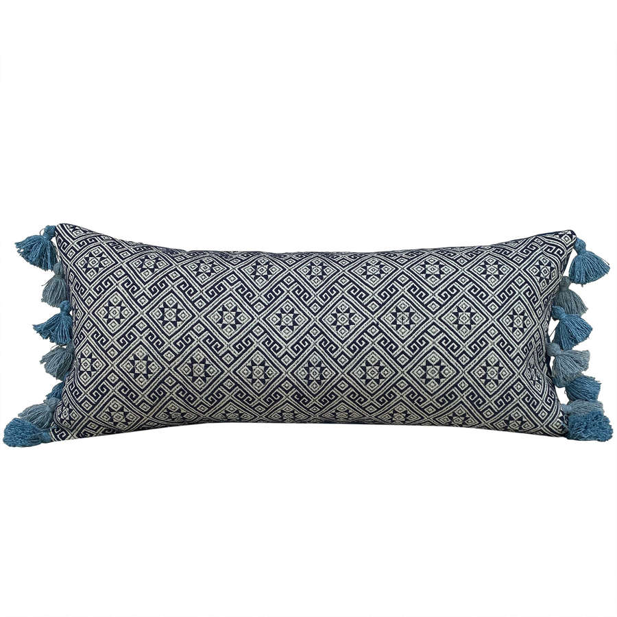 Indigo Zhuang cushions with tasselled sides
