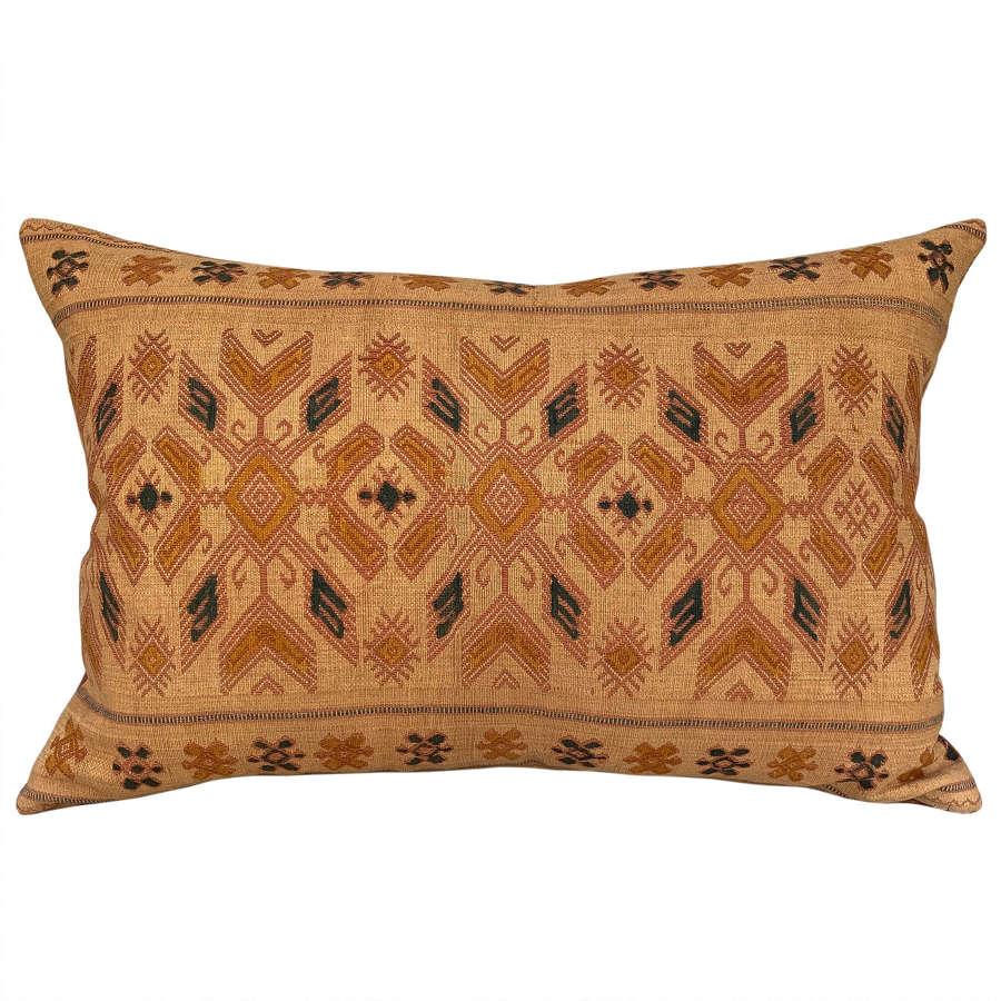 Sumba pahikung cushions, yellow ochre