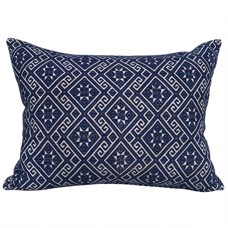 Large indigo Zhuang cushion