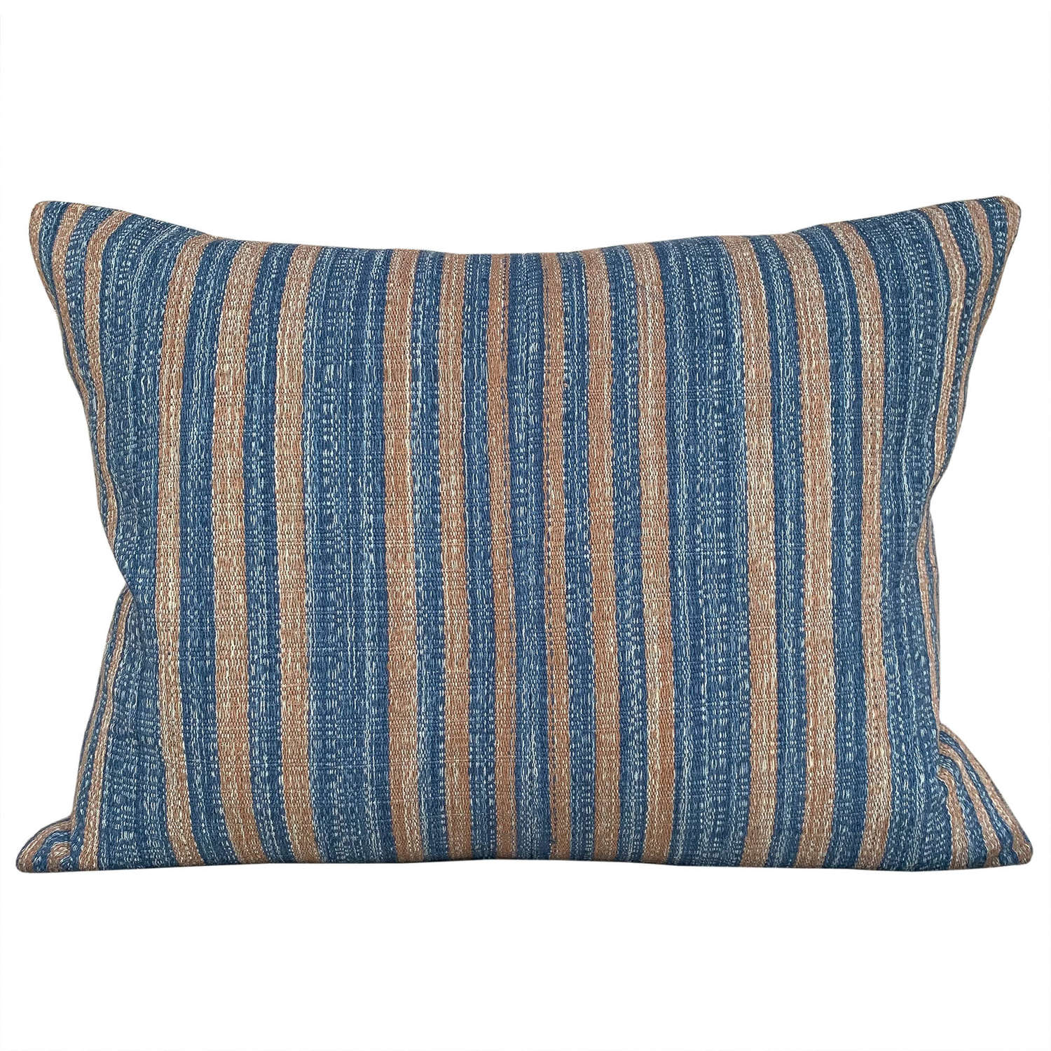 Blue and ochre striped cushions