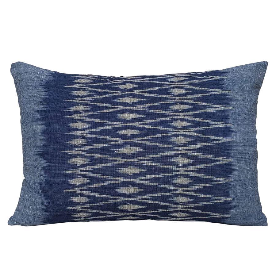 Indigo ikat cushions