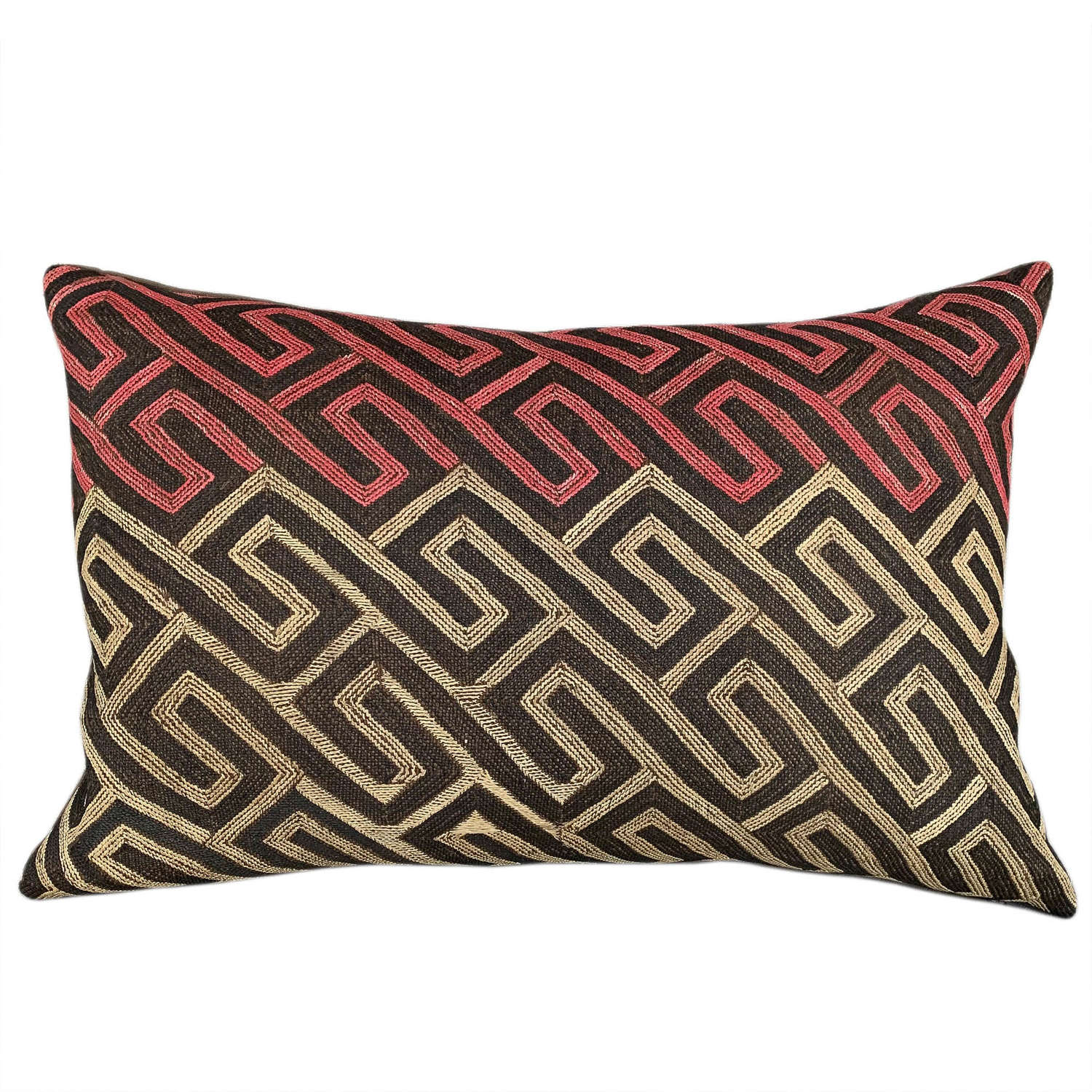 Kuba cloth cushion with pink