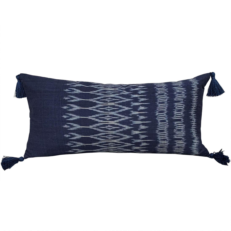 Laos ikat cushions with tassels