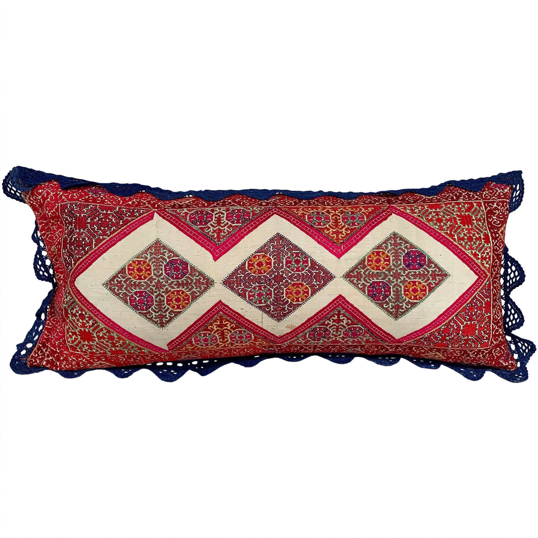 Swat pillow with crochet trim