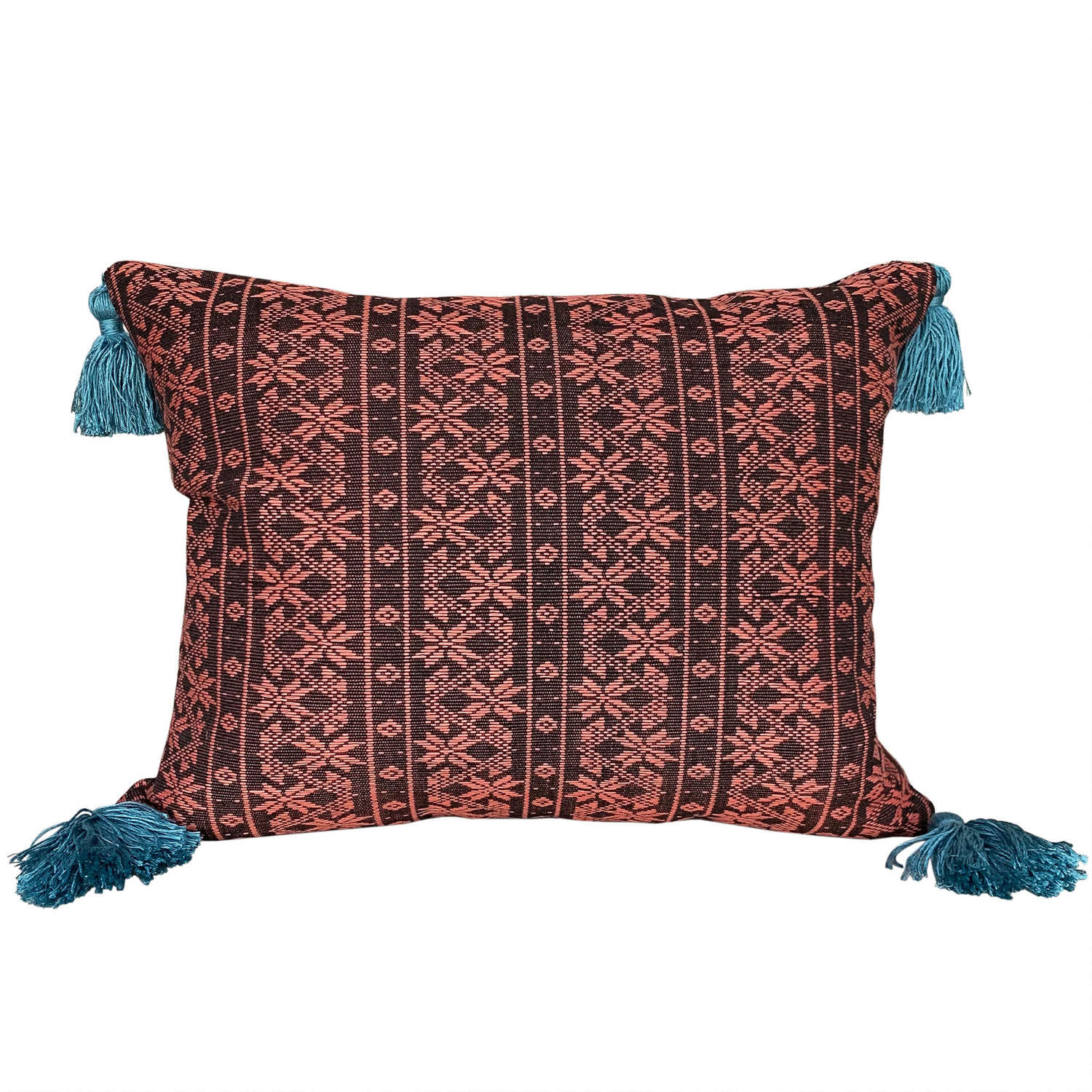 Naga cushions with teal tassels