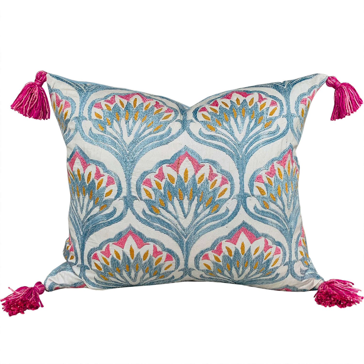 Silk embroidered cushions with tassels