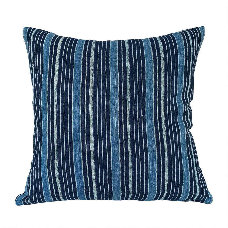 Ivory Coast indigo striped cushions