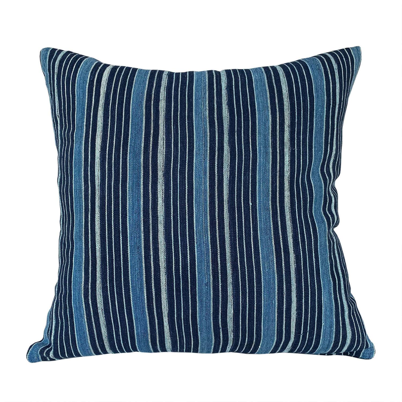 Ivory Coast indigo striped cushions