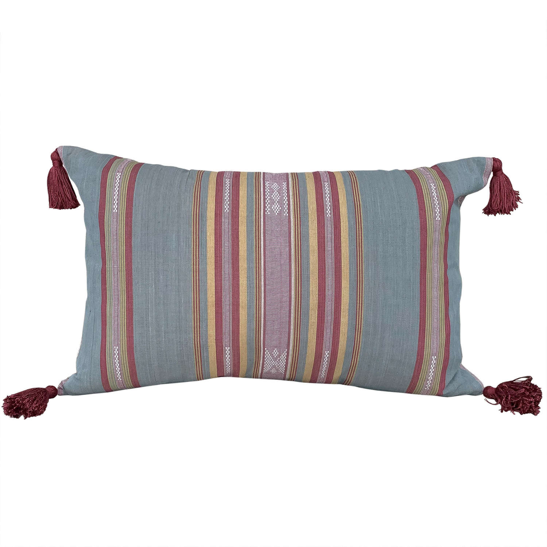 Blue Grey Lombok cushion with tassels