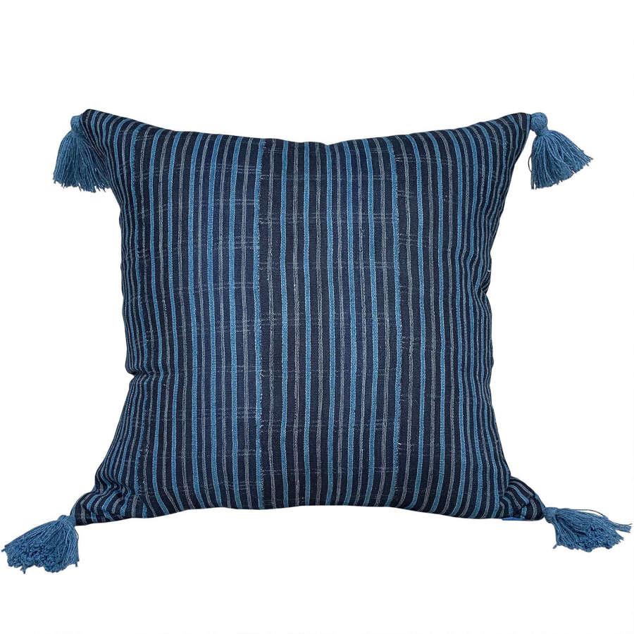 Indigo striped Yoruba cushion with tassels