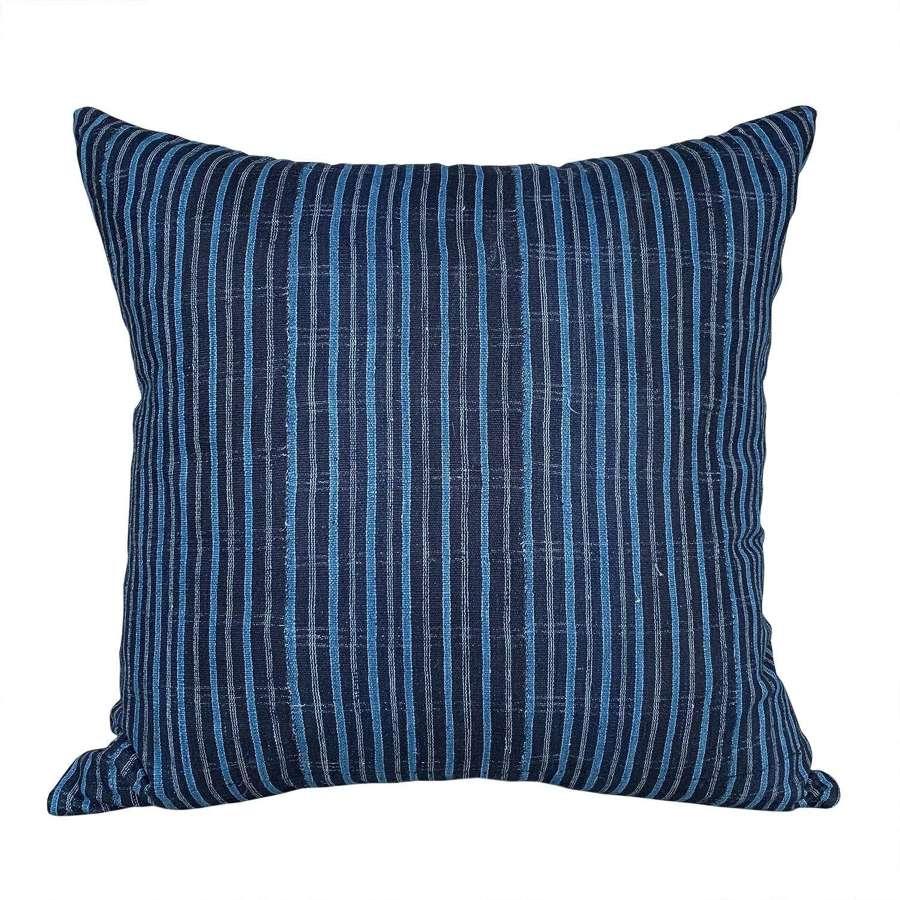 Indigo striped Yoruba cushion