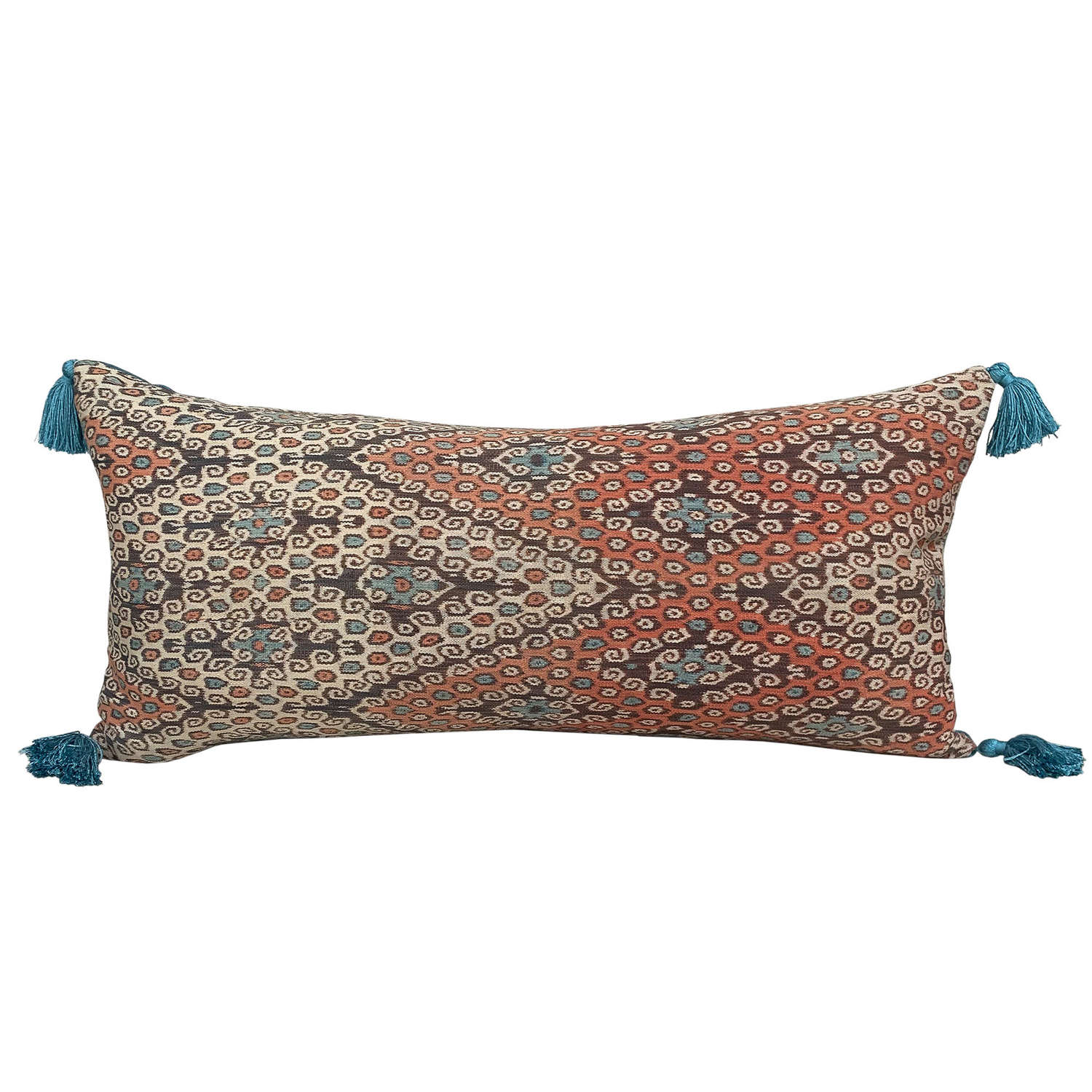 Timor futus cushion with teal tassels