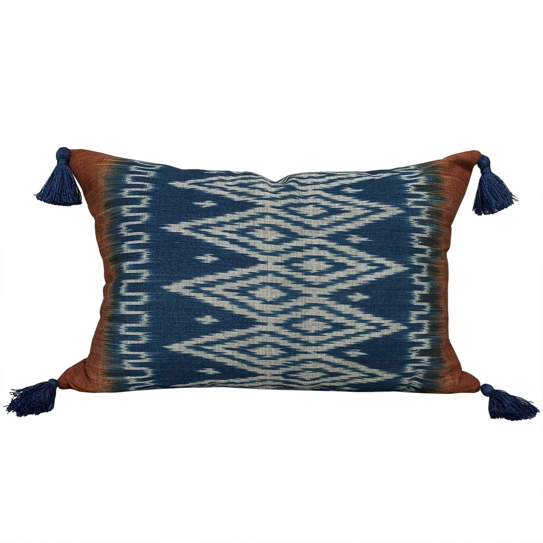 Indigo ikat cushion with tassels
