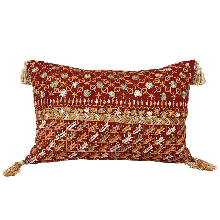 Bhutti phulkari cushions with tassels