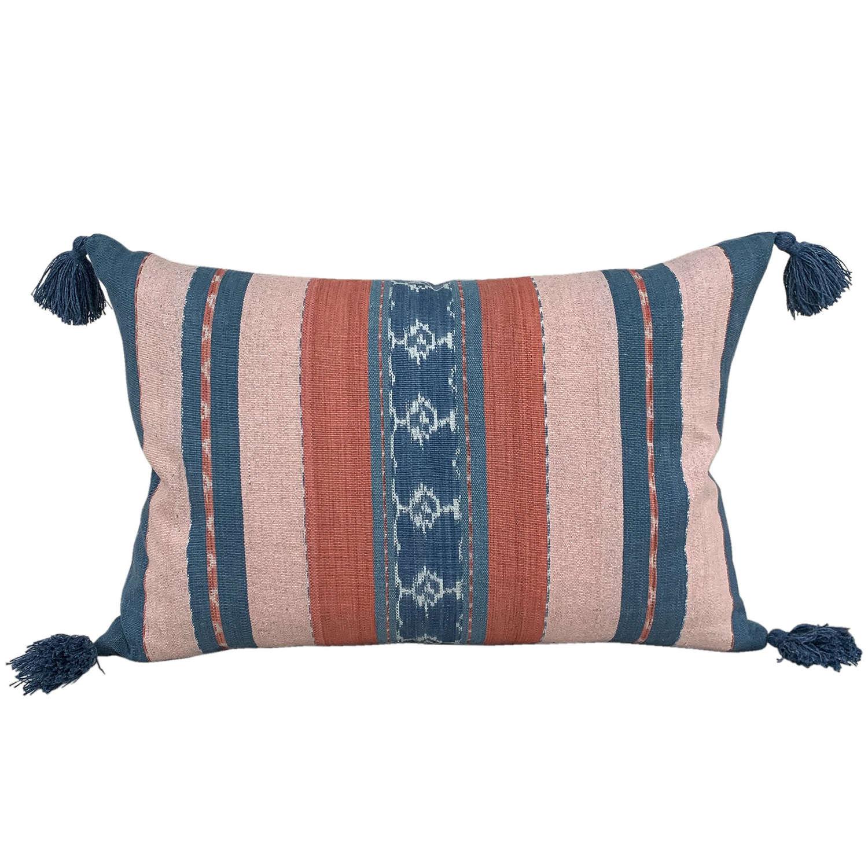 Flores ikat cushions, pink & blue