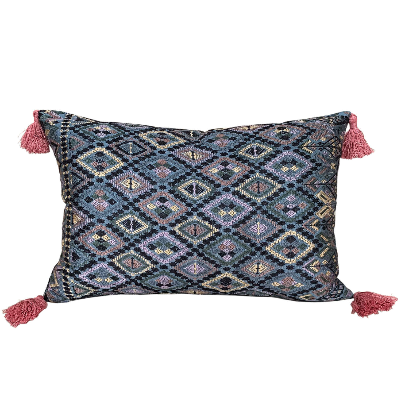 Lao silk brocade cushion with tassels