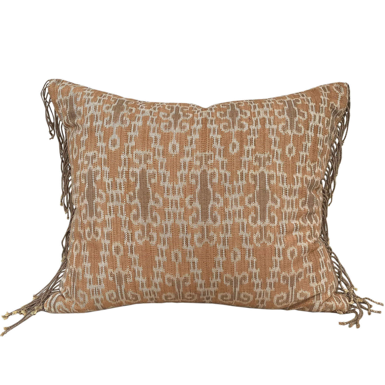 Dayak ikat cushion with fringed ends