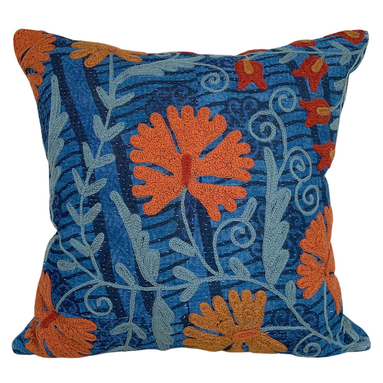 Indigo suzani cushions