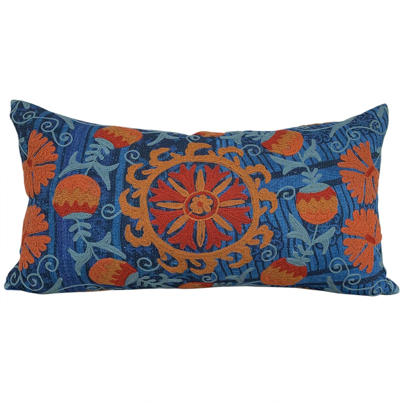 Large indigo suzani cushion