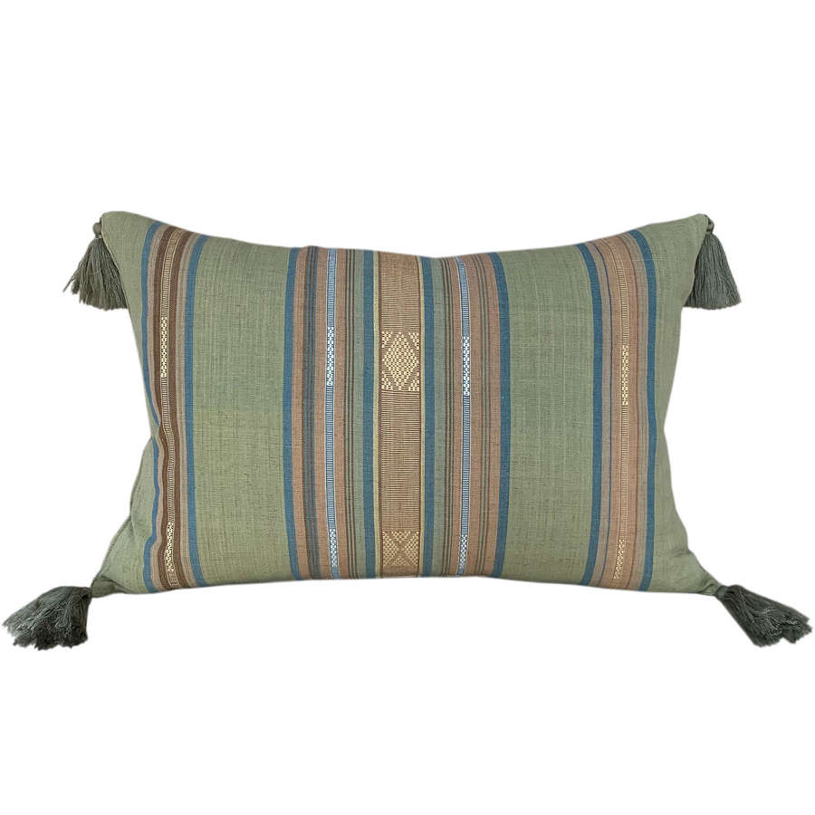 Green Lombok cushions with tassels