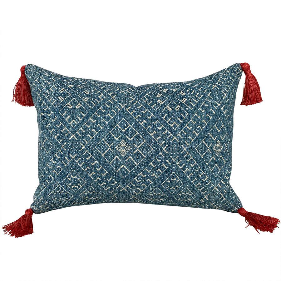 Indigo Dai wedding blanket cushions, small