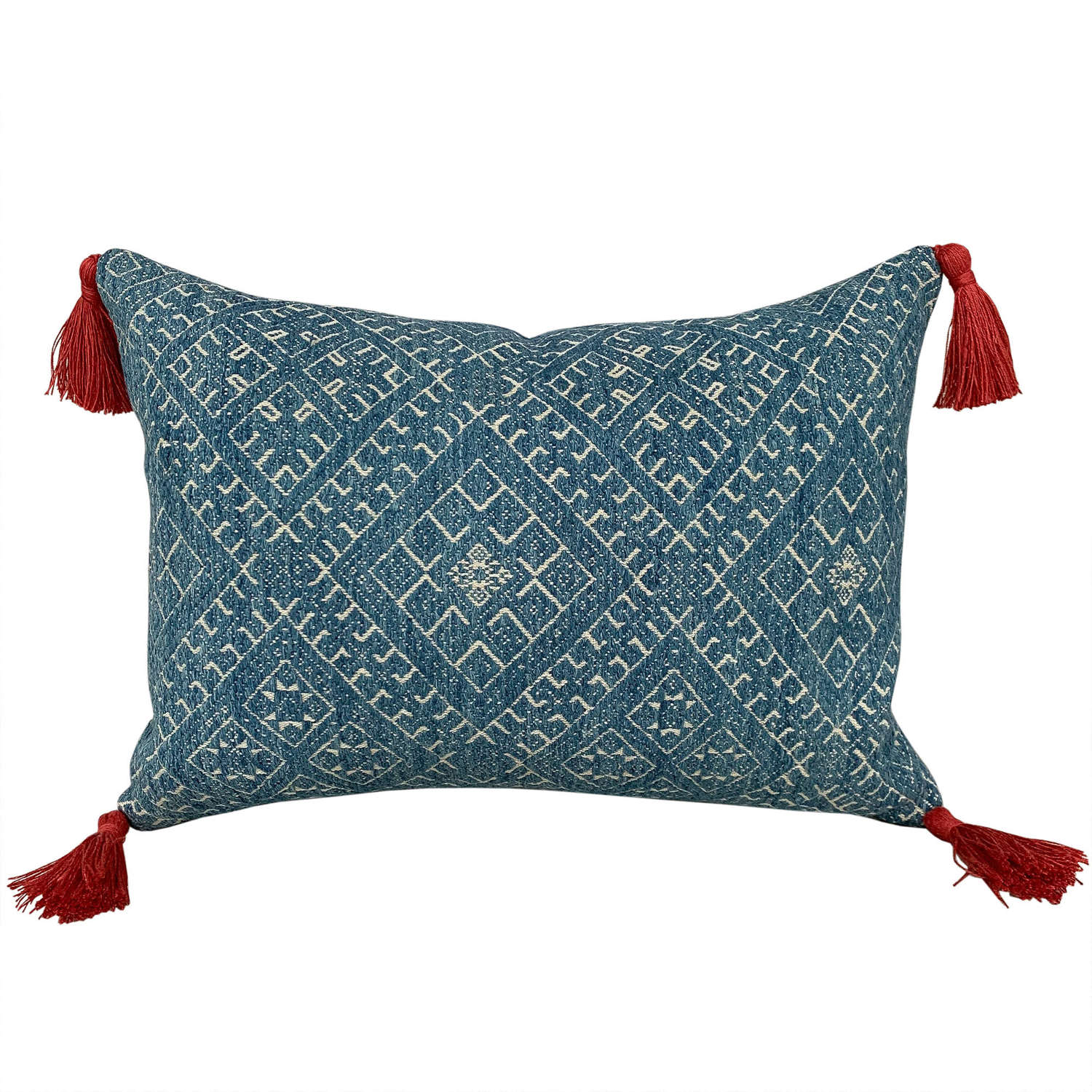 Indigo Dai wedding blanket cushions, small