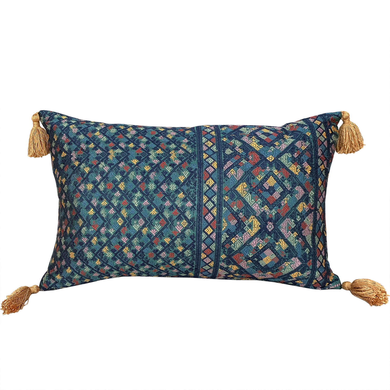 Lao silk brocade cushions with tassels