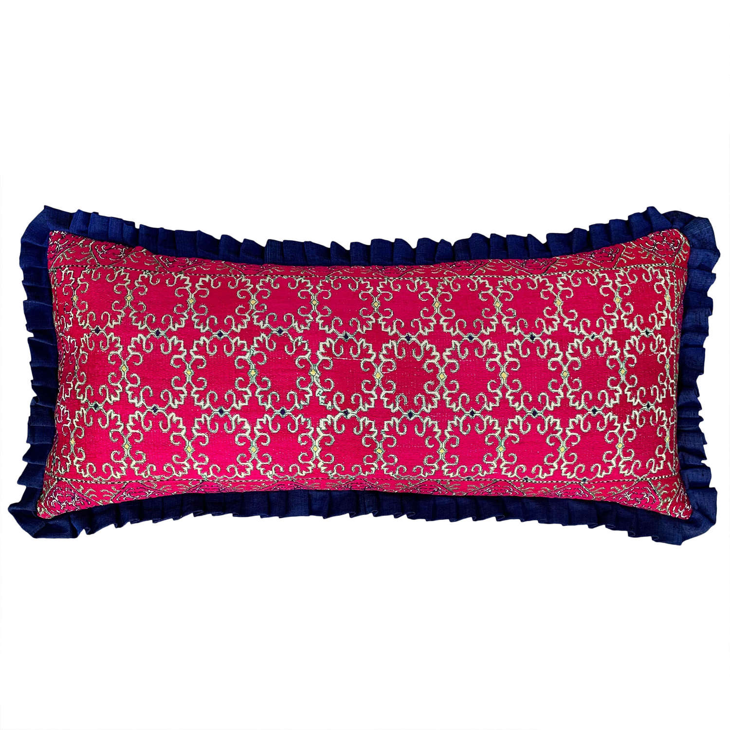 Swat pillow with pleated silk trim