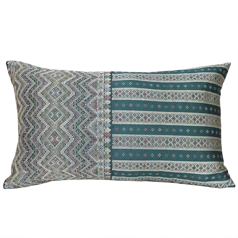 Lao silk brocade cushions - teal