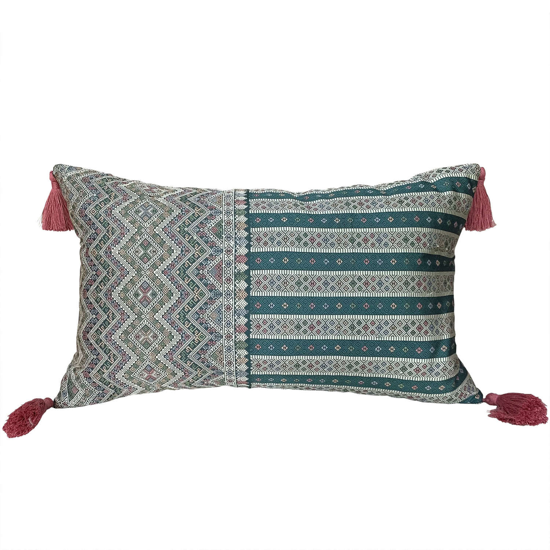 Lao silk brocade cushions with pink tassels