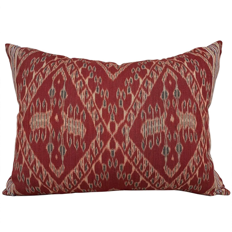 Timor ikat cushion, madder and teal