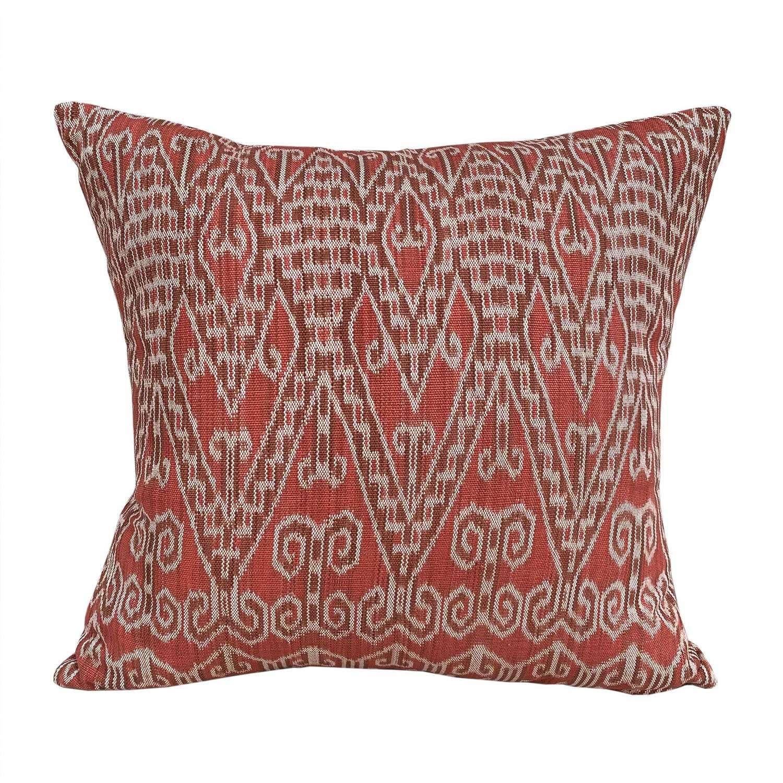 Dayak ikat cushion - deep coral