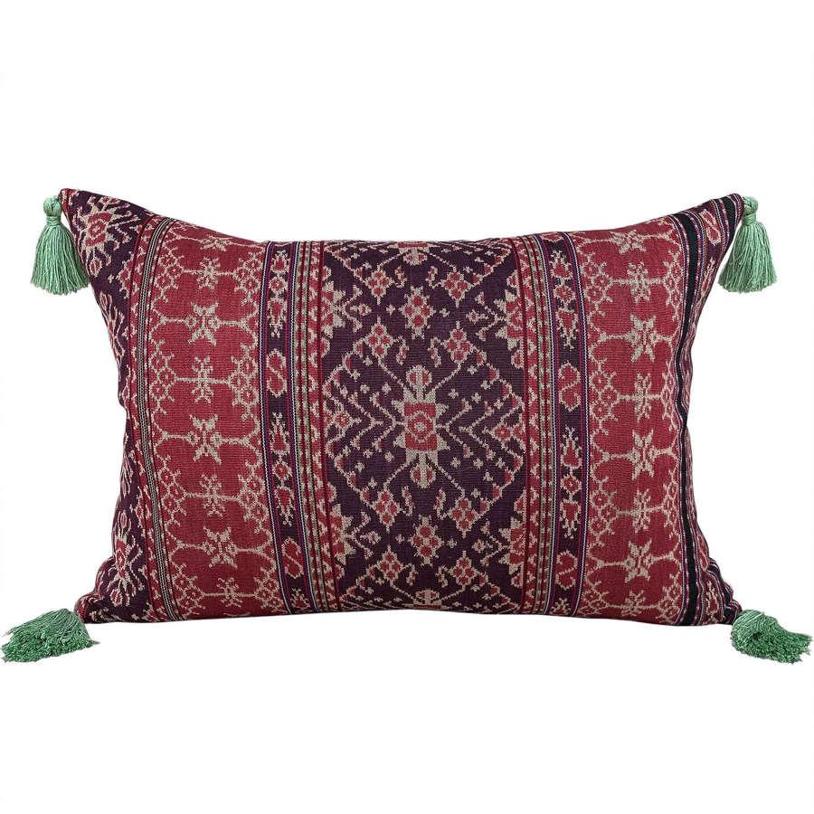 Large Savu ikat cushions with green tassels