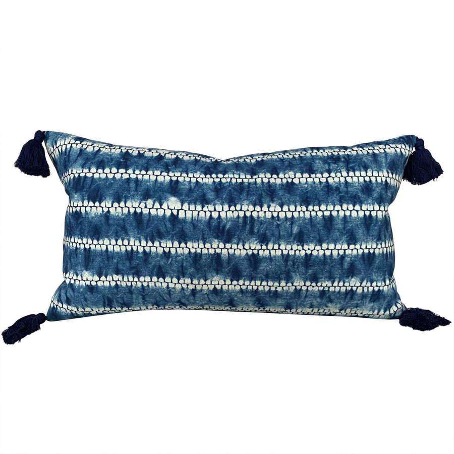 Shibori cushions with tassels