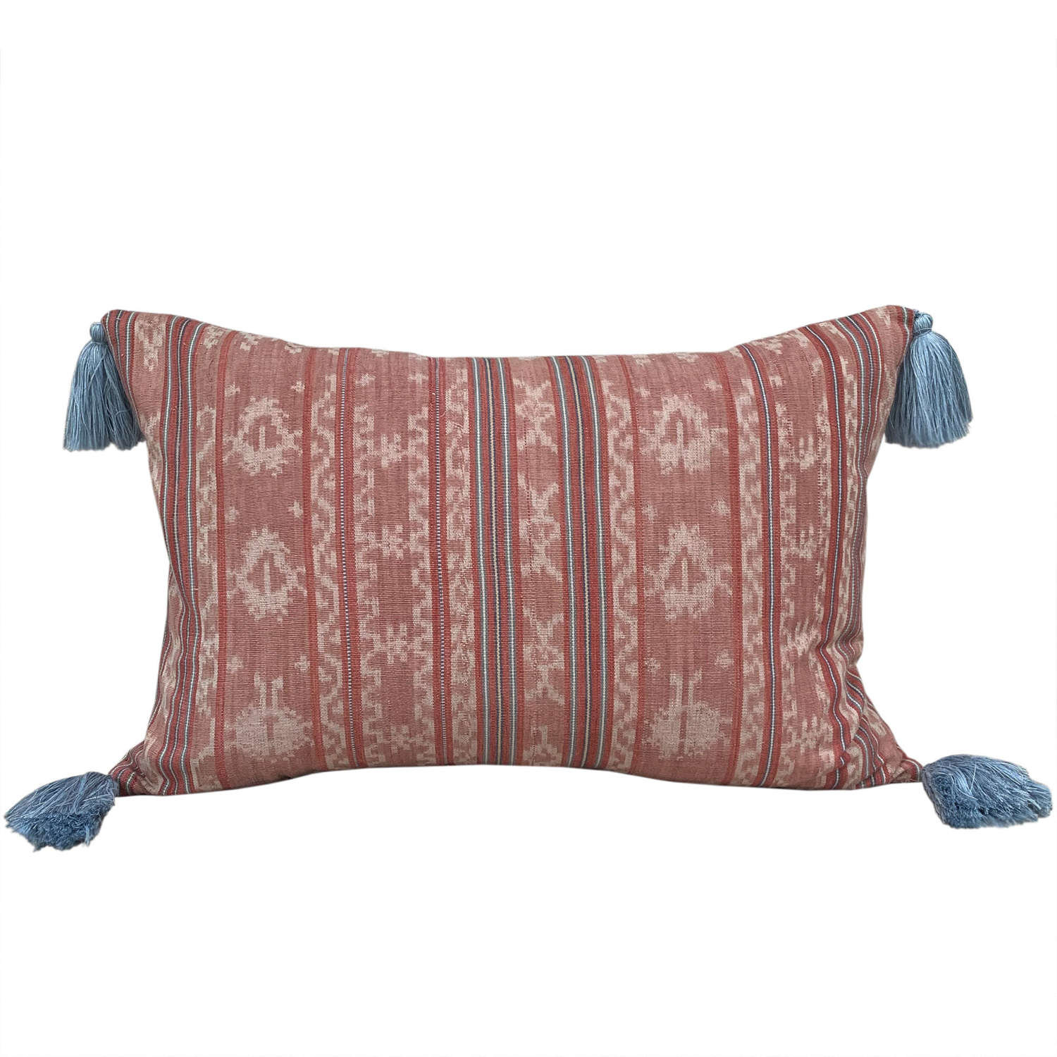 Pink Flores ikat cushion with tassels