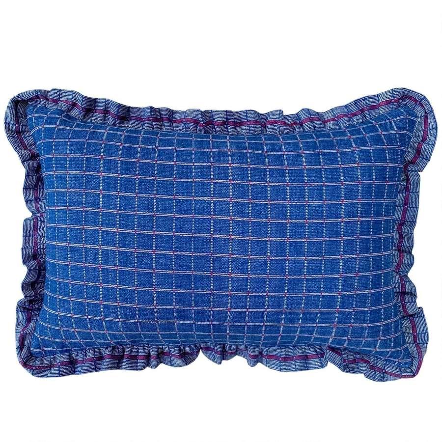 Songjiang cushions - indigo with frill trim