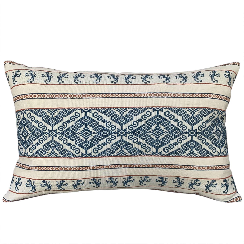 Sumba pahikung indigo and off-white cushion