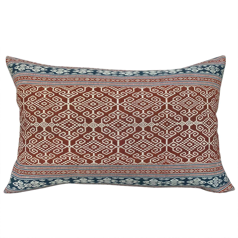 Sumba pahikung indigo and rust cushions