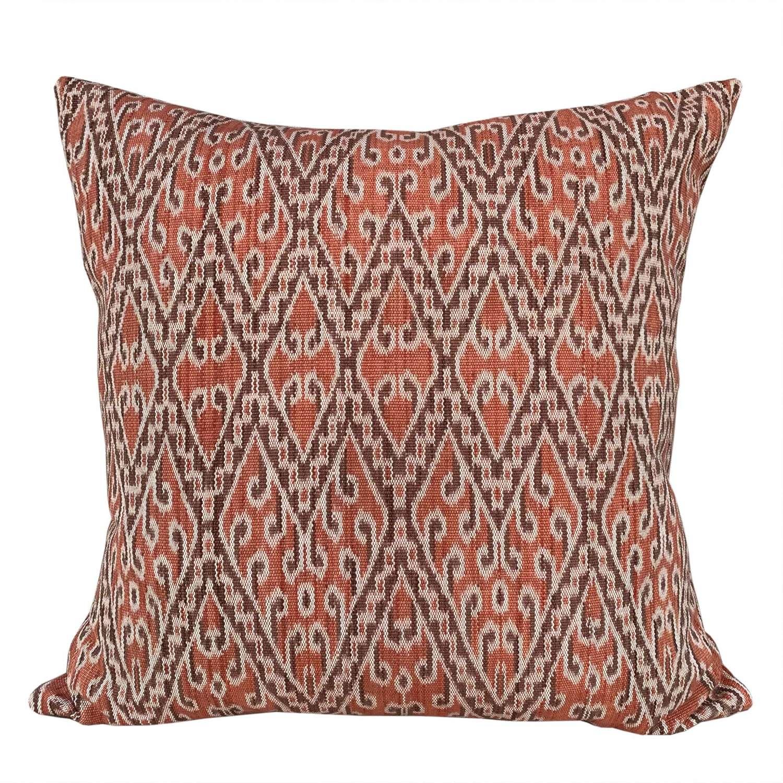 Dayak ikat cushions, light coral