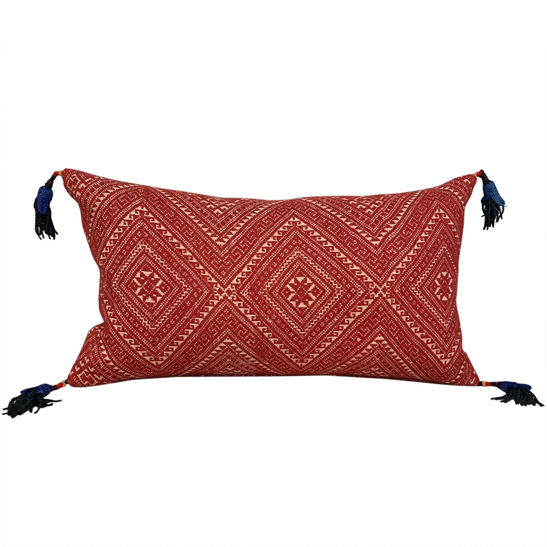 Red Dai cushions with Uzbek tassels