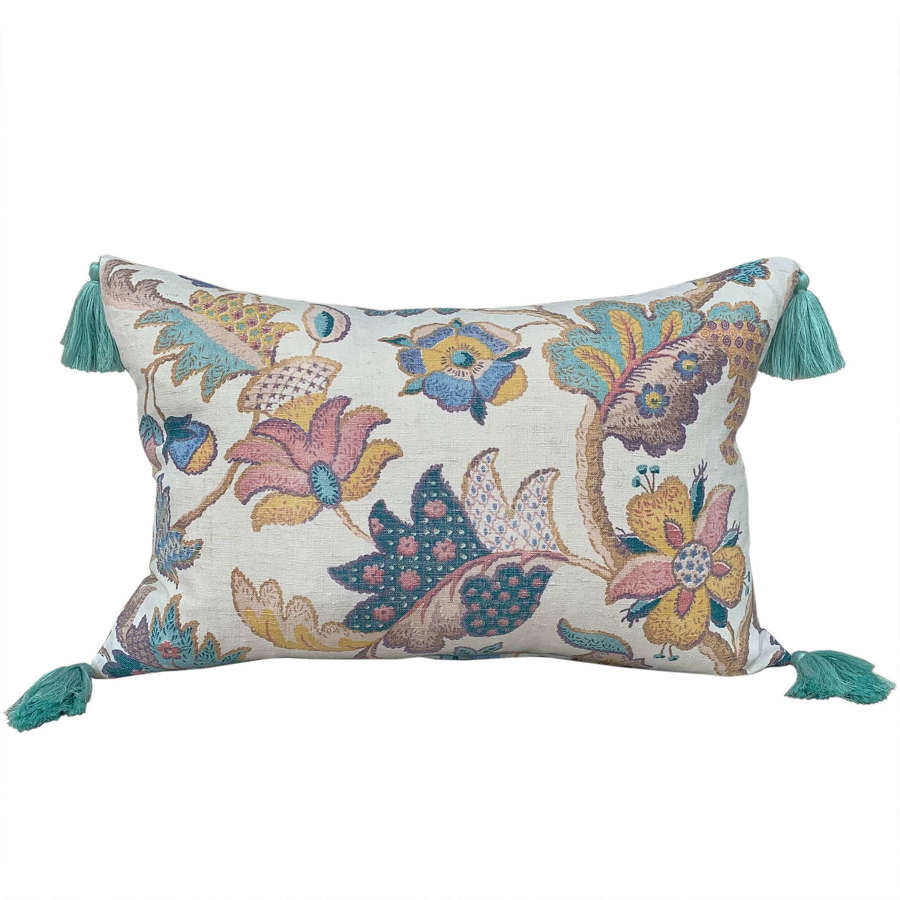 Crewel print cushions with tassels