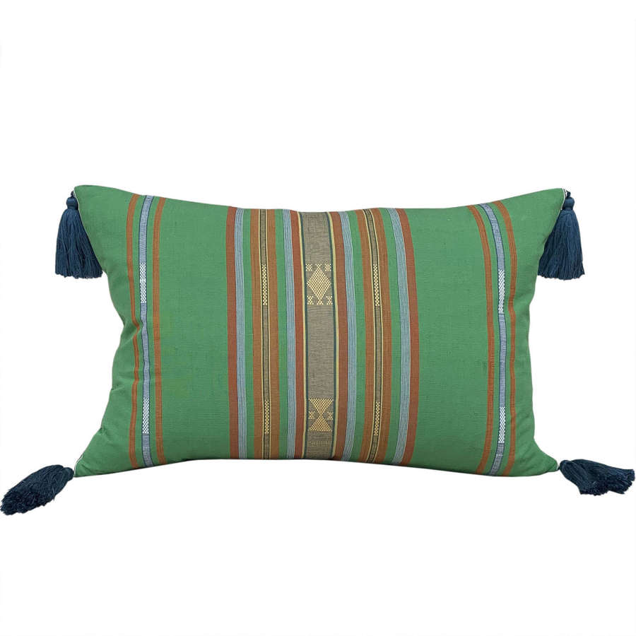 Green Lombok cushions with blue tassels