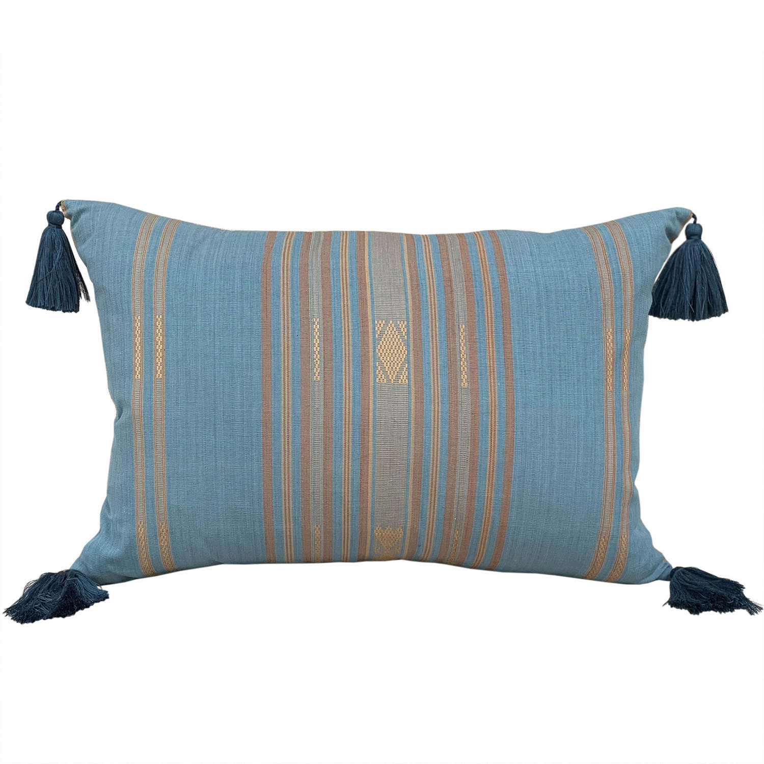 Pastel blue Lombok cushions with tassels